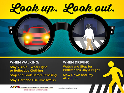 Look Up Look Out pedestrian safety tips